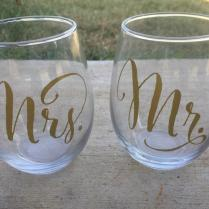 Mr And Mrs Stemless Wine Glasses, Wedding Wine Glasses, Wedding