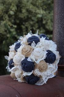 Navy Burlap And Lace Bridal Bouquet Rustic Wedding Bride's