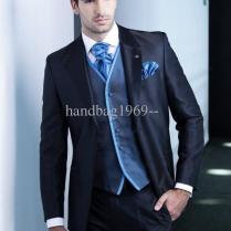 New Design Dark Blue Groom Tuxedos Groomsmen Best Man Suit Men