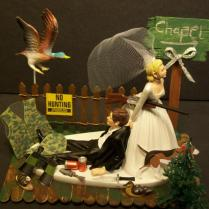 No Hunting Duck With Chapel Sign Bride And Groom Wedding Cake