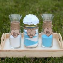 Personalized Rustic Wedding Unity Sand Ceremony Set Custom Flower