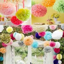 Pom Wedding Decor On Decorations With 30 Hanging Paper Pompoms