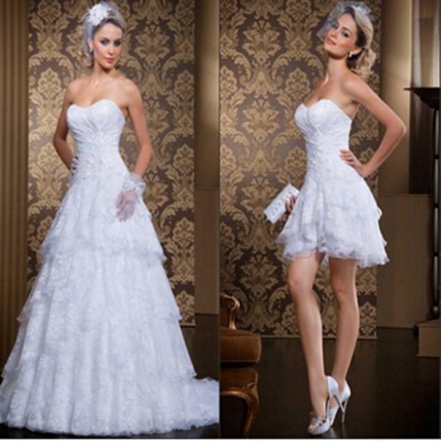 Popular 2 In 1 Wedding Dress Long And Short