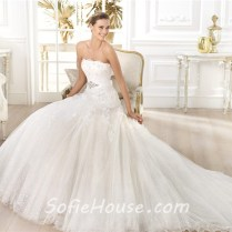Princess A Line Strapless Glitter Tulle Flower Wedding Dress With
