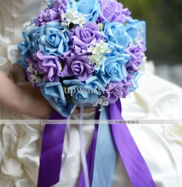Purple And Blue Wedding Bouquets