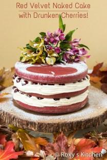 Red Velvet Naked Cake With Drunken Cherries For Our 5th Wedding
