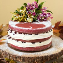 Red Velvet Naked Cake With Drunken Cherries For Our 5th Wedding
