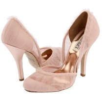 Romantic Blush Pink Bridal Heels With Sheer Lace Overlay And