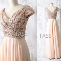 Rose Gold Sequin Chiffon Long Bridesmaid Dress, Cap Sleeves