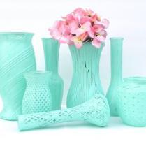 Shabby Chic Vases In Minty Aqua, Set Of 7 Vases, Vase Collection