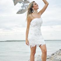 Sheath Tight Strapless Lace Short Wedding Dresses Beach Style