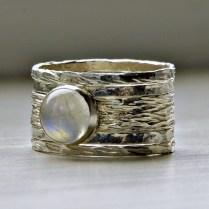 Simone Unique Rustic Stackable Moonstone Wedding Ring · Stackable