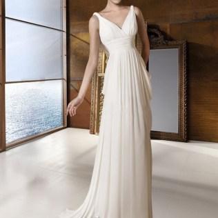Simple Informal Empire Grecian Beach Wedding Gown Nw1079