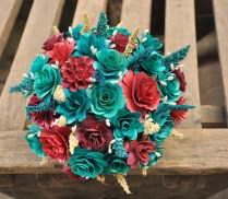 Teal And Maroon Wood Wedding Bouquet