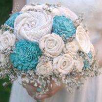Turquoise Aqua Sola Wood & Wildflower Alternative Wedding Bouquet