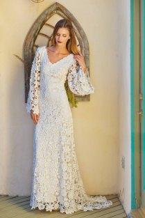 Vintage Bohemian Ivory Crochet Lace Wedding Dress Uk 8 10 12 14
