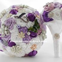 Vintage Brooch Bouquet Purple Wedding Flowers White Brooch Bouquet