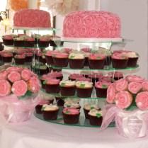 Wedding Rose Cake Cupcakes And Bouqet