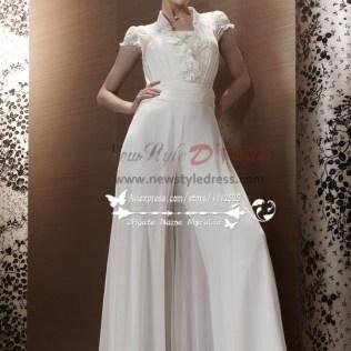 White Chiffon Wedding Jumpsuit Bridal Siamese Trousers Dresses Wps