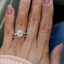 Yellow Gold Engagement Ring White Wedding Band