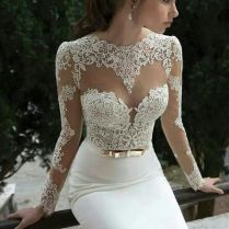 White Lace Fitted Wedding Dress