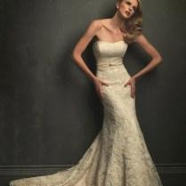 White Strapless Applique Refined Trumpet Lace Wedding Dress 1000
