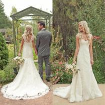 2015 Elegant Country Western Style Wedding Dress Ivory V Neck
