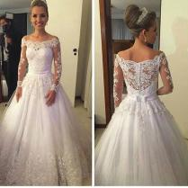 2016 Vintage Wedding Dresses Cheap White Full Lace Appliques Off