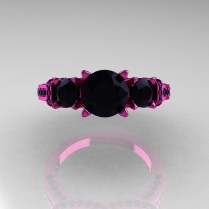 310ct Pink Sapphire Diamond Engagement Ring Bridal Set 18k Black