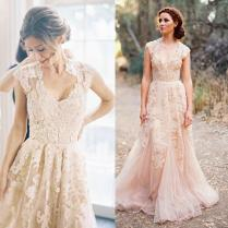 Aliexpress Com Buy Blush Pink Dusty Rose Appliqued Lace Wedding