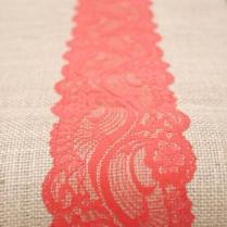 Beach Orange, Coral Red, Vermillion, Lace, Burlap Runner 12 X108