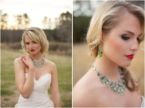 Beautiful Emerald Statement Wedding Jewelry From Aubre's Bridal