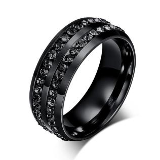 Black Crystal His And Her Promise Ring Sets Wedding Rings For Men