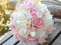 Blush Pink Bridal Bouquet White Real Touch Rose Calla Lily