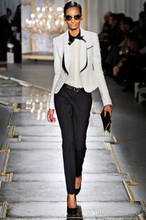 Charming White Black Women Tuxedos Shawl Lapel Suits For Women One