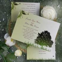 Cheap Rustic Green Tree Country Theme Wedding Invitations Ewi040