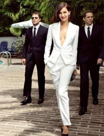 Cheap White Tuxedo Pant Suit Women