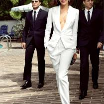 Cheap White Tuxedo Pant Suit Women