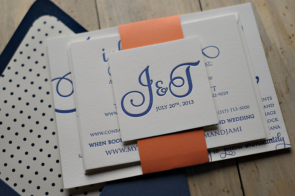 Blue And Coral Wedding Invitations: Navy And Coral Wedding Invitations