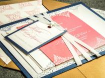 Coral Wedding Invitations, Elegant Wedding Invitation, Flourish