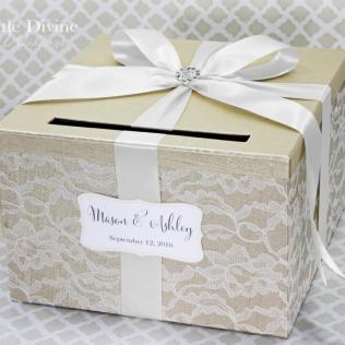 Custom Wedding Card Wedding Card Box Champagne White Lace Card