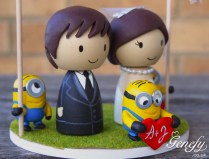 Cute Despicable Me Minions Bride And Groom Cake Topper