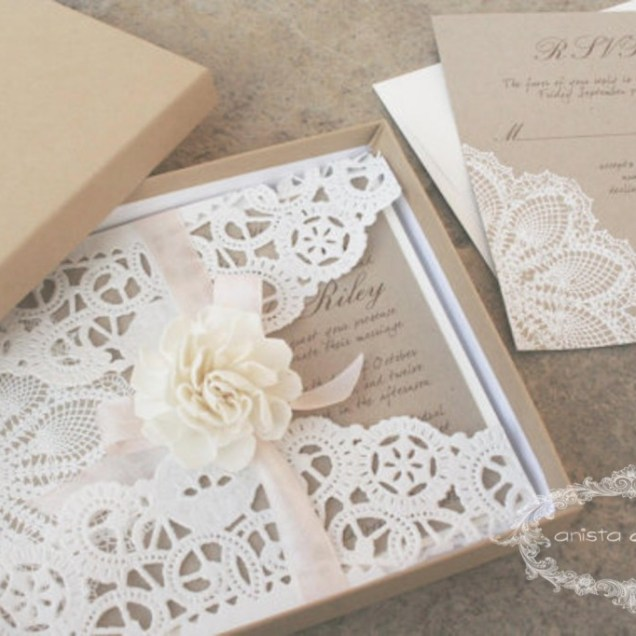 Diy Wedding Invitations Paper Doilies