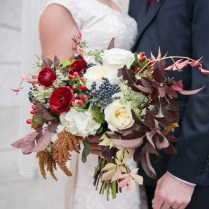Fantastic Fall Wedding Bouquet Of Navy, Red, Burgundy, Ivory
