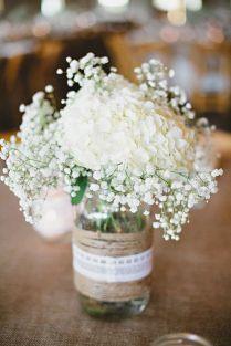 Flowers In Mason Jar With Burlap