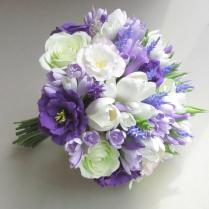 Freesia, Eustoma, Tulip, Rose, Lavender Bridal Bouquet Lilac