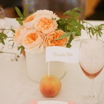 Fruit Incorporated Into Wedding Reception Centerpieces Peaches