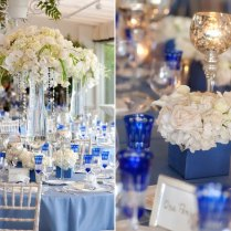 Gorgeous Blue And Silver Wedding Centerpieces