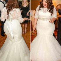 Gorgeous Half Sleeves Mermaid Wedding Dresses 2016 New Plus Size