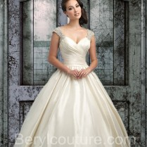Gown Sweetheart Cap Sleeve Open Back Ivory Satin Wedding Dress